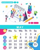 Isometric month May from set calendar of 2019. Business planing. Concept creating a business strategy. Isometric people on a white background stock illustration