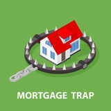 Isometric Mortgage House In Bear Trap. 3D illustration isolated on white background Royalty Free Stock Image