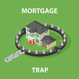 Isometric Mortgage House In Bear Trap. 3D illustration isolated on white background Stock Images