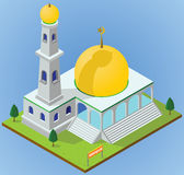 Isometric mosque. Illustration of an isometric place for praying Muslims Stock Photos