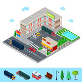 Isometric Motel with Parking Zone, Bar and Swimming Pool. Modern Road Hotel. Stock Photo