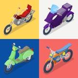 Isometric motocykl Ustawiający z Mountaine hulajnoga i rowerem ilustracji