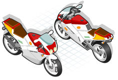 Isometric Motorcycle. In two position Stock Photo