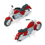 Isometric motorcycle or motorbike  on white background. The concept of freedom and travel Royalty Free Stock Image