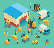Isometric moving cargo and warehousing employees Royalty Free Stock Images