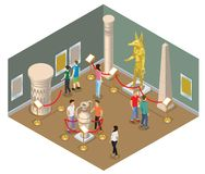 Isometric Museum Hall Concept. With visitors view pharaoh statue pictures ancient amphora column and historical buildings isolated vector illustration royalty free illustration