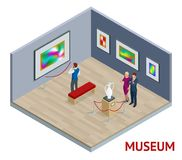 Isometric museum interior or art gallery concept. Exhibitions prehistory medieval history artefacts and art. Vector Illustration Stock Photo