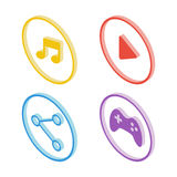 Isometric music icon. Isometric play icon. Isometric share icon. Isometric joystick icon. Royalty Free Stock Images