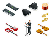 Isometric Musical instruments icons vector realistic set Stock Image