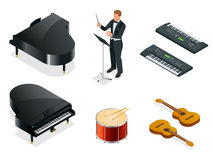 Isometric Musical instruments icons vector realistic set.  Stock Images