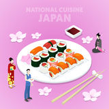 Isometric National Cuisine Japan with Sushi and Japanese People in Traditional Clothes Royalty Free Stock Photography