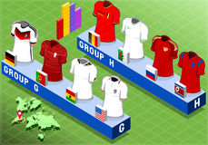 Isometric Nations Groups for Soccer World Cup Royalty Free Stock Photos