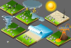 Isometric natural disaster Stock Images