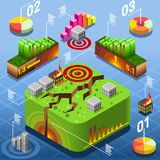 Isometric Natural Geological Disaster Earthquake. Earthquake flat 3d isometric concept vector. Seismic epicentre geological disaster tectonic plate movement royalty free illustration