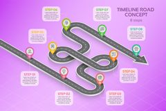 Isometric navigation map infographic 8 steps timeline concept Royalty Free Stock Images