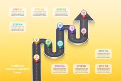 Isometric navigation map infographic 8 steps timeline concept. Winding road. Vector illustration Royalty Free Stock Photography
