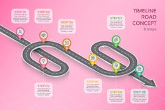 Isometric navigation map infographic 8 steps timeline concept Stock Image