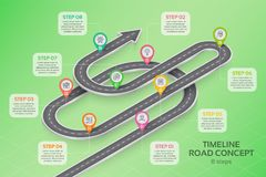 Isometric navigation map infographic 8 steps timeline concept Stock Photo