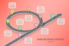 Isometric navigation map infographic 8 steps timeline concept Royalty Free Stock Photo