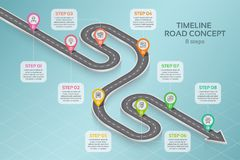 Isometric navigation map infographic 8 steps timeline concept Stock Photography