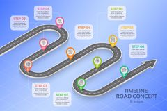 Isometric navigation map infographic 8 steps timeline concept Royalty Free Stock Photos
