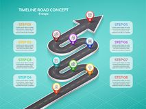 Isometric navigation map infographic 8 steps timeline concept. W. Inding road. Vector illustration Royalty Free Stock Image