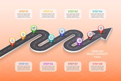 Isometric navigation map infographic 8 steps timeline concept. W. Inding road. Vector illustration Royalty Free Stock Images