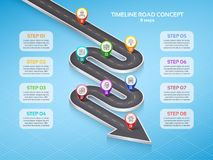 Isometric navigation map infographic 8 steps timeline concept. W. Inding road. Vector illustration Stock Images