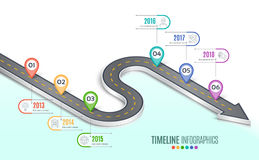 Isometric navigation map infographic 6 steps timeline concept. W Royalty Free Stock Photo