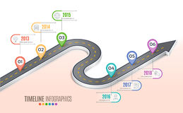 Isometric navigation map infographic 6 steps timeline concept. Winding road. Vector illustration Stock Photo