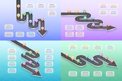 Isometric navigation map infographic 8 steps timeline concept. Winding road. Vector illustration. Color swatches control Royalty Free Stock Image