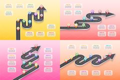 Isometric navigation map infographic 8 steps timeline concept. Winding road. Vector illustration. Color swatches control Stock Photo
