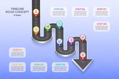 Isometric navigation map infographic 8 steps timeline concept. Winding road. Vector illustration Royalty Free Stock Images