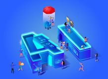 Isometric Neon Ai Letter Artificial Intelligence stock illustration