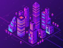 Isometric neon town. Futuristic illuminated city, future megapolis highway illumination and business district 3d vector stock illustration