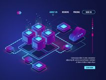 Isometric networking conncetion, internet network topology concept, server room, data center and database icon. Cloud storage vector dark ultra violet neon vector illustration