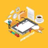 Isometric newsletter concept. Stock Photos