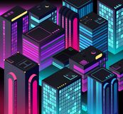 Isometric night city. 3d illuminated buildings. Future urban landscape. Vector illustration. Night skyscraper cityscape, bright downtown stock illustration
