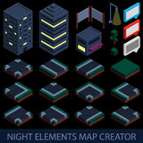 Isometric night elements map creator Royalty Free Stock Image