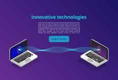 Isometric nowożytny komputeru networking i technologii pojęcie Sieci technologii obłoczny biznes Internetowi serwisy informacji ilustracja wektor