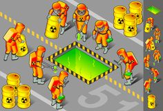 Isometric nuclear area with six man at work. With some radioactive barrels Royalty Free Stock Images