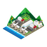 Isometric of nuclear power plants, , illustration Royalty Free Stock Image