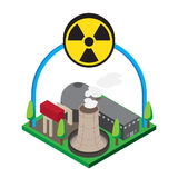Isometric of nuclear power plants, , illustration Stock Images