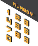 Isometric numbers. Collection of the isometric numbers. Vector illustration Royalty Free Stock Image