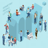 Isometric numbers with people Stock Photos