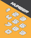 Isometric numbers. Set of the isometric numbers. Vector illustration Royalty Free Stock Photo