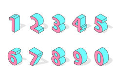 Isometric numbers vector isolated. Stock Photography