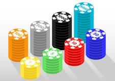 Casino chips currecy money isometric. Isometric object equipment of gamble casino vector illustration