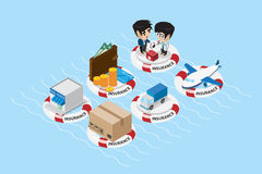 Isometric objects with lifebuoy and business concept Stock Photos