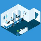 Isometric Office Banking Composition. People isometric banking composition with bank office room electronic queue service bankers and waiting clients characters Royalty Free Stock Photo